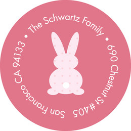 Little Bunny Pink Kids Address Labels