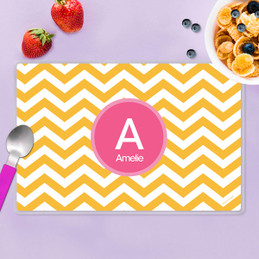 Chevron Mustard and Pink Kids Placemat