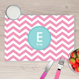 Chevron Pink and Aqua Kids Placemat