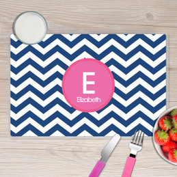 Blue and Pink Chevron Kids Placemat