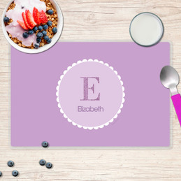 A Shiny Purple Letter Chevron Kids Placemat