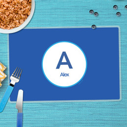 A Linen Blue Letter Chevron Kids Placemat