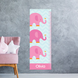 Sweet Pink Elephant Kids Growth Chart