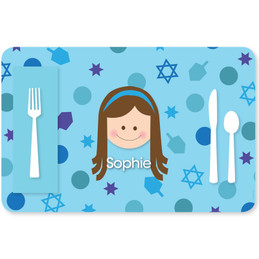 Hanukkah Joy Girl Kids Placemat