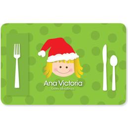 Santa's Hat Girl Kids Placemat