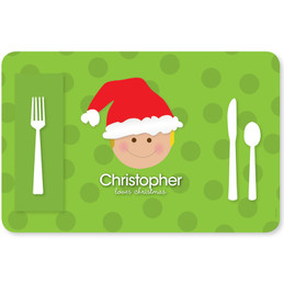 Santa's Hat Boy Kids Placemat