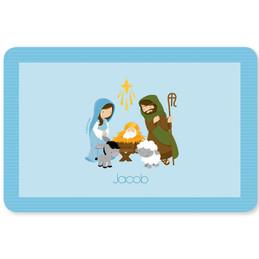 Nativity Set on Blue Kids Placemat