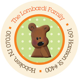 Baby Return Address Labels Teddy Bear Orange