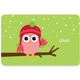 Xmas Baby Pink Owl Kids Placemat
