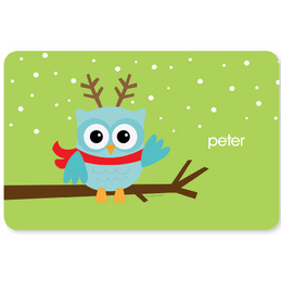 Xmas Baby Blue Owl Kids Placemat