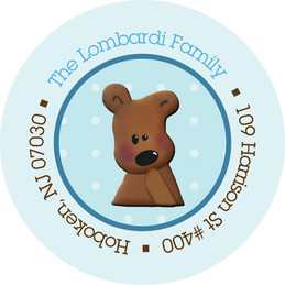 Cute Return Address Labels Teddy Bear Blue