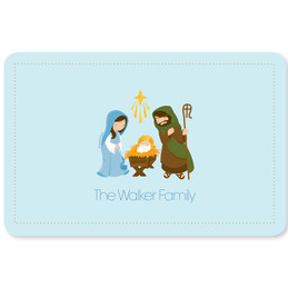 Sweet Blue Nativity Holiday Placemat