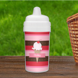 Strawberry Cone Personalized Sippy Cups