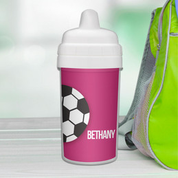 Soccer Fan purple personalized sippy cups for toddlers