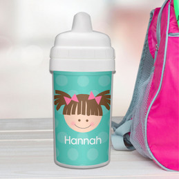 Just Like Me Girl Aqua Customized sippy cup