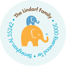 Kid Address Labels Mommy And Baby Elephant