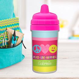 Peace & Love Personalized Baby Sippy Cups