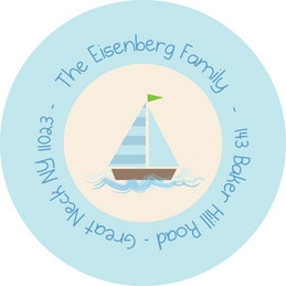 Childrens Address Labels My Blue Sailboat