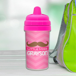Little Miss Mustache personalized sippy cups for toddlers