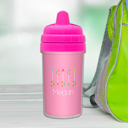 Colorful arrows personalized sippy cups with names