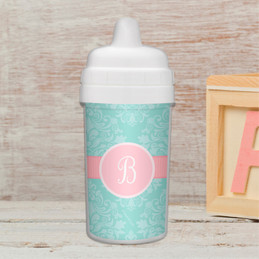 Pretty Blue Damask Transition Sippy Cup
