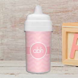 Initials on chevron personalized sippy cup