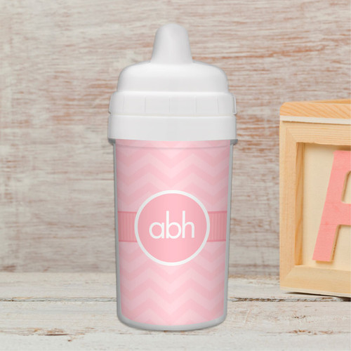 No Spill Sippy Cup with Initials On Chevron