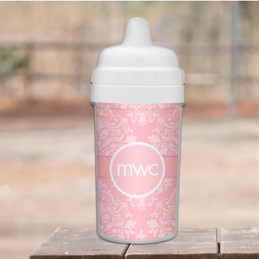 Pink Sweet Damask Personalized Sippy Cups