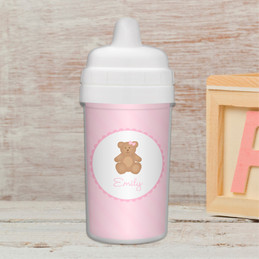 A sweet teddy bear personalized baby sippy cups