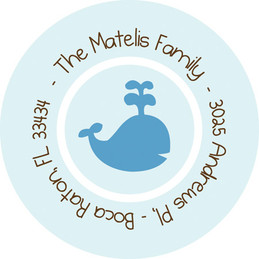 Fun Address Labels Baby Whale Playing