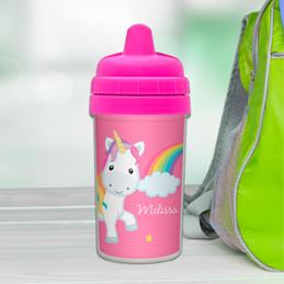 Rainbow unicorn customized sippy cups