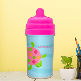 Swimming pink turtle sippy cup for toddlers