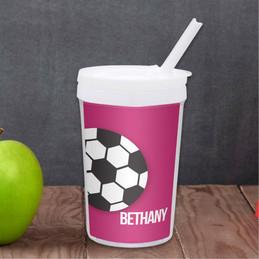 Soccer Fan-Purple Personalized Kids Cups