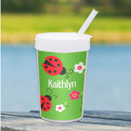 Curious Lady Bug Personalized Kids Cups