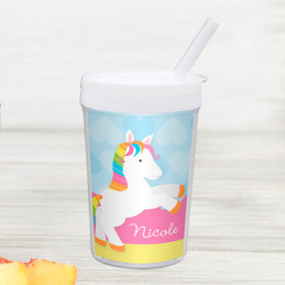 Cute Rainbow Pony Personalized Kids Cups