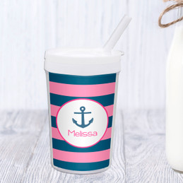Let's Sail-Pink Personalized Kids Cups