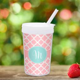 Pretty Pink Quatrefoil Custom Kids Cups