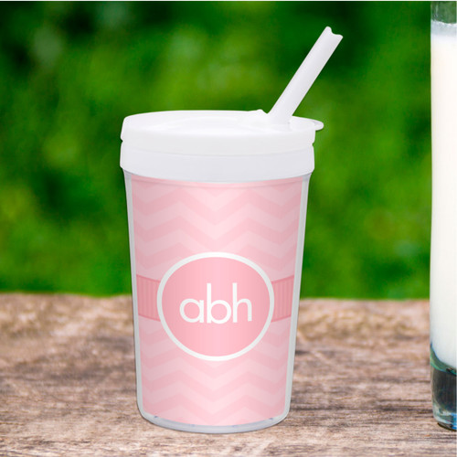 Initials on Chevron Personalized Kids Cups