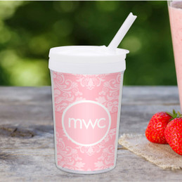 Pink Sweet Damask Personalized Kids Cups
