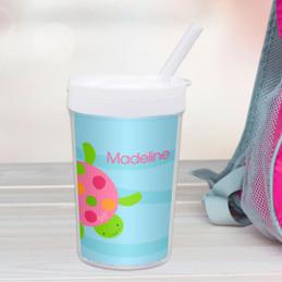 Swimming Pink Turtle Custom Kids Cups