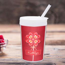 Lovely Heart Flower Personalized Kids Cups