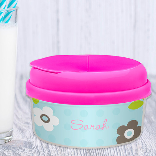 Preppy Flowers Blue Snackbowls For Toddlers