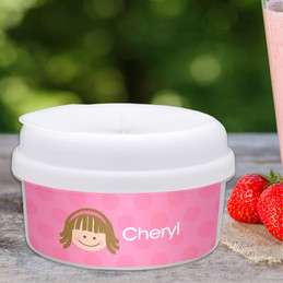 Just Like Me Girl Pink Snack Bowls With Lids