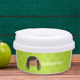 Just Like Me Girl Green Personalized Snack Bowl