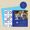 Shown with optional bright blue envelope and matching return address label