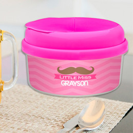 Little Miss Mustache Snackbowls For Toddlers