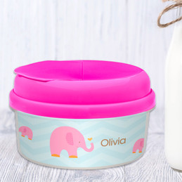 Sweet Pink Elephant Personalized Snack Bowls