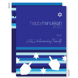 Bold Stripes And Dreidels Hanukkah Greeting