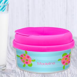 Swimming Pink Turtle Toddler Snack Bowl
