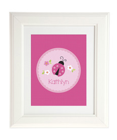 Sweet Pink Lady Bug Kids Wall Art